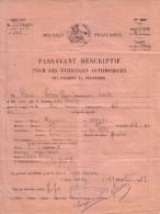 Douanes Françaises, Les Fourgs (Doubs). Laisser-passer Pour Véhicules Automobiles. Principalité: Pontarlier. 11-04-1933. - Titres De Transport