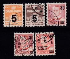 DENMARK, 1955, Used Stamp(s), Overprints,  Mi 358-361, #10069,  Complete - Denmark