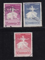DENMARK, 1959, Used Stamp(s), Ballet Games,  Mi 374+403+435, #10073,  Complete - Denmark