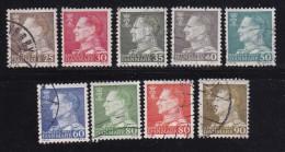 DENMARK, 1961, Used Stamp(s), Definitives, Frederik IX, MI 390-398 , #10079, 9 Values - Oblitérés