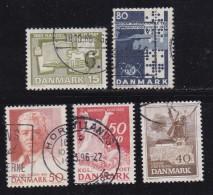 DENMARK, 1965, Used Stamp(s), Various Stamps, MI 426=437, #10086, 5 Values - Denmark