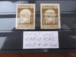 LOT ITALIE FIUME N°108 Et 145 NEUF* COTE 52 EUROS - Occupation 1ère Guerre Mondiale