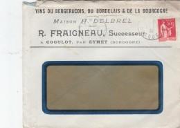 PAIX 50C SUR FACTURE VINS DU BERGERACOIS R.FRAIGNEAU COGULOT 21/12/35                            TDA99 - Vins & Alcools