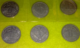 Lot 63 - 1 Franc FRANCISQUE - FRANCE - 6 Pièces Monnaie - 1942 à 1944 - Valeur 107 € - H. 1 Franco