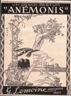 Publicité Tirée De L'illustration N°4221 Du 26 Novembre 1927 - Un Grand Parfum Anémonis G. Lemoine Parfumeur Paris - Reclame