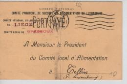 CP Comité Provincial De Secours&d'Alimentation Du Luxembourg Griffe Port Payé C.fortune Liège V.Tellin PR3420 - Postmark Collection