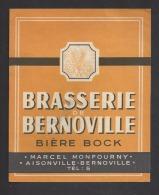 Etiquette De Bière Bock Années 50 -   Marcel Monfourny  à  Aisonville Et Bernoville   (02) - Beer