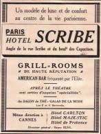 Publicité 1927 - Hotel Scribe - Directeur Henri Ruhl - Grill Rooms - American Bar Fréquenté Par L'élite - Reclame