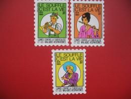 Lot De Petites Vignettes C/ La Tuberculose  Neuf  * *  TB  De 3F  1979/1980  Autoadhésives - Erinnofilia