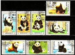Mongolia 1Panda, Pandas, Pandabär, Bär, Mongolei 1990  USED 8 STAMPS (LOT - 4 - 221) - Ours
