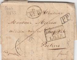 Belgium France Cover Entire 1833 GAND '8 AED' PP 'BELGIQUE PAR LILLE' Paris Très Pressée To POITIERS (p41) - 1830-1849 (Belgica Independiente)