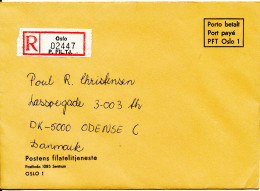 Norway Registered Cover Sent To Denmark Postage Paid With Green DOUANE C1 Label On The Backside Of The Cover - Norvège