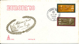 Malta FDC EUROPA CEPT 29-4-1980 With Cachet (rust Stains At The Edge Of The Cover) - Europa-CEPT