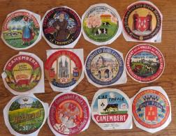 12 Etiquettes Fromage CAMEMBERT Différentes /sans Vignette Syndicat/ Sans Numéro De Département      Ref 1 - Cheese
