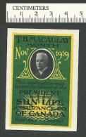 C08-28 CANADA Sun Life Assurance 1919 Advertising Label 1a MNG - Local, Strike, Seals & Cinderellas
