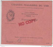 Fixe Timbre Fiscal Sur Traite Grands Magasins Du Var Succursale Toulon 9-11 Bd Strasbourg 14 Mai 1938 - Fiscaux