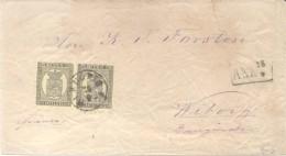 """FINLANDE 10 PENNIA PAIR BN COVER WITH """"KUOPIO 25-9-75"""" CANCELLATION YVERT NR. 7 PAR ARRIVAL CANCEL ON FRONT (WIBORG) COR - 1856-1917 Administración Rusa"""