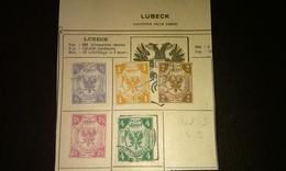 LUBECK Allemande Lot 72 - 5 FAUX Timbres Anciens Fragments Charnière - FAUX - Lübeck