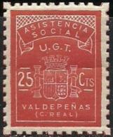 VALDEPEÑAS (CIUDAD REAL) Nº 1 ** MNH  FESOFI/SOFIMA 25 CTS. UGT ASISTENCIA SOCIAL (REPUBLICANA) - Spanish Civil War Labels