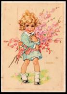 5819 - Alte Glückwunschkarte - Künstlerkarte - Geburtstag - Mädchen Mit Blumen - Lungers Hausen - Geburtstag