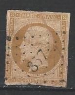 """YT 13B """" Napoléon III 10c. Bistre-brun """" 1853 PC 857 CHOMERAC"""