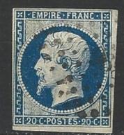 """YT 14A """" Napoléon III 20c. Bleu Foncé """" 1854 PC 96?"""