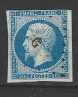 "YT 14B "" Napoléon III 20c. Bleu Foncé "" 1860 Bureau De Paris G Rue Mazarine - 1853-1860 Napoleon III"
