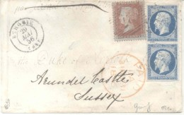 1856 FRANCE GREAT BRITAIN MIXED FRANKING COVER REDIRECTED TO THE DUKE OF NORFOLK ALL PROPER TRANSITS AND ARRIVAL POSTMAR - 1853-1860 Napoléon III