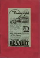 PUBLICITES -TRACTEURS RENAULT - 2 Publicités Issues D´une Revue De 1948 Collées Sur Feuille A 4 - Agriculture - Supplies And Equipment