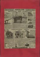 PUBLICITES - Battage Des Céréales - Publicité Issue D´une Revue De 1927 Collée Sur Feuille A 4 - Agriculture - Alte Papiere