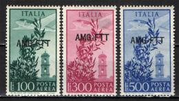 TRIESTE - AMGFTT - 1950 - SERIE CAMPIDOGLIO - SORASTAMPA SU UNA RIGA - 100, 300 E 500 LIRE - NUOVI MNH - 7. Trieste