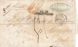 Brasil France Italy Cover Entire 1852 RIO JANEIRO ´COLONIES ART & Cc ART 13´ LONDON CALAIS BEAUVOISIN To GENOVA (p110) - Storia Postale