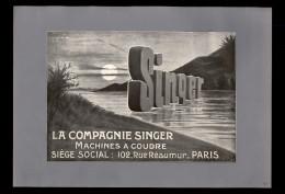 PUBLICITES - MACHINE A COUDRE SINGER - Publicité Issue D´une Revue De 1908 Collée Sur Feuille A 4 - Publicités