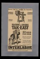PUBLICITES - MACHINE A COUDRE TAK-EASY - Publicité Issue D´une Revue De 1921 Collée Sur Feuille A 4 - Publicités
