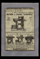 PUBLICITES - MACHINE A COUDRE OMNIA - Publicité Issue D´une Revue De 1929 Collée Sur Feuille A 4 - Publicités