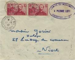 1937- Env. De Rochefort-sur-Mer ( Char. Mar. ) Affr. Paire N° 353 PIERRE LOTI  Oblit. De Rochefort - Storia Postale