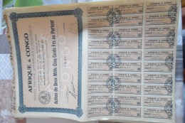 Lot De 48 Action Société Agricole Commerciale Et Industrielle Afrique Et Congo 2000 Fr Au Porteur - Shareholdings