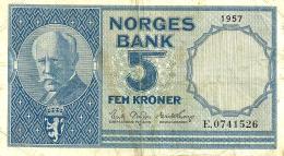 NORWAY 5 KRONER BLUE MOTIF FRONT & LANDSCAPE SHIP BACK DATED 1957 P30a AVF SIG.BROFFOS-THORP READ DESCRIPTION !! - Norway