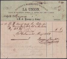 E4297 CUBA SPAIN ESPAÑA1869. OLD INVOICE AGENCIA DE MUDANZAS LAUNION. - Documentos Históricos