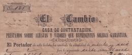 """E4300 CUBA SPAIN ESPAÑA1873. OLD INVOICE PAWNSHOP EL CAMBIO. TOBACCO """"EL RECREO"""". CASA DE EMPEÑOS TABACOS VITOLA LONDRES - Documentos Históricos"""