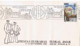 MUS-L98 - ESPAGNE Obl. Commémorative Sur Lettre Fiestas Euskaras - Musique