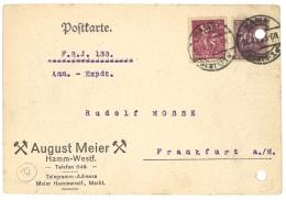 GERMANY 1923 CARD FROM HAMM TO FRANKFURT - Briefe U. Dokumente