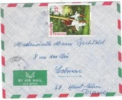 MUS-L104 - MADAGASCAR Lettre Par Avion Pour La France Affr. Joueur De Valina - Musique
