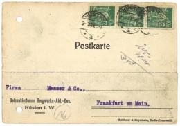 GERMANY 1923 CARD FROM HUSTEN  TO FRANKFURT - Germany