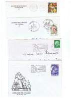MUS-L114 - FRANCE 4 Lettres Diff. Avec Obl., Flammes Et Timbre Ange Musicien Du Rétable D'Issenheim Colmar - Musique