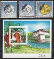 BHUTAN, 1996, Summer Olympic Games, Olympics, Atlanta, 3v  Set + Miniature Sheet, Complete Serie, MNH(**). - Summer 1996: Atlanta