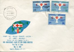 12378 Ethiopia,  Fdc  1969  Red Cross,   50th Anniv. League Of The Red Cross Societies, Croix Rouge - Äthiopien