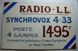 Plaque En Carton - Radio - L.L. - Synchrovox 4-33 - TSF - 4 Lampes 1495F - Plaques En Carton