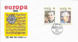 N°  707 / 708       EUROPA  MALTE  -  1985  -  FDC  MUSIQUE : N. BALDOACHINO ET F. AZOPARDI - Malta