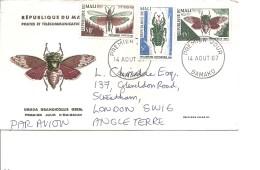 Insectes ( FDc Du Mali De 1967 Voyagé Vers La Grande-Bretagne à Voir) - Insectes